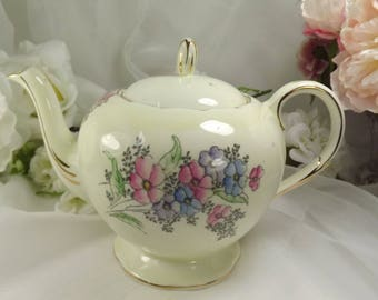 Foley/ Shelley Pastel Florals Teapot, Unused 1940s
