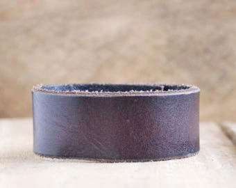 CUSTOM HANDSTAMPED narrow dark brown leather cuff by mothercuffer