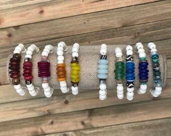 COLORED Stackable Bracelets / Tribal Bracelet Stack / Boho Beaded Bracelet