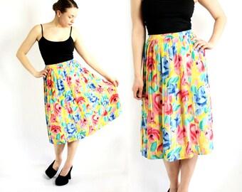 Vintage 70's 80's Bright Yellow Blue Rose Floral Print Accordion Pleat High Waist Skirt Midi - Small to Medium