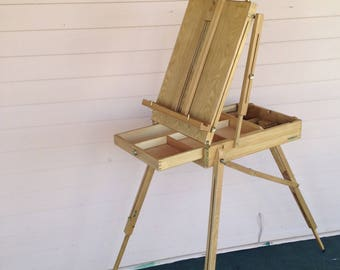 Vintage Portable Folding Travel Artist Easel and Case  Artist Paint Box with Easel  Stand-up Sit- Down Easel