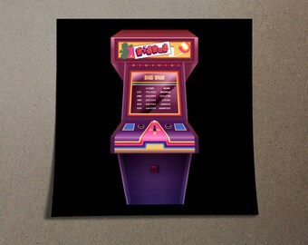 Dig Dug Poster Design from the Stranger Things Universe with Mike, Dustin, Lucas, Will, Eleven, and Max Arcade Game Dig Dug Madmax