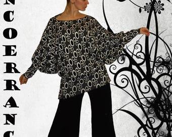 Tunique  stretch  ,   tunique longue , robe courte ' White bubbles....  '