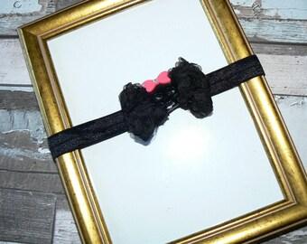 Black 3/6months Shabby bow baby headband
