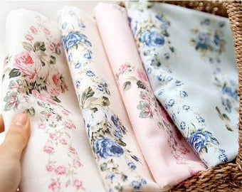 Rose Line Linen Blended Fabric by Yard, Width 140cm (55 Inches) - 4 Colors Selection