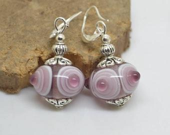 Earrings purple amethsyte Lampwork Glass Beads purple 925 Silver hooks