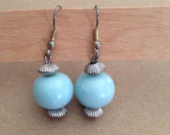 Polymer clay Blue Pearl Earrings