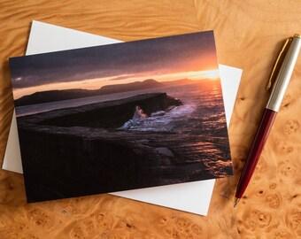 Seascape sunrise greetings card from Lyme Regis