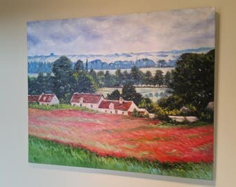 """Oil Painting - My hand painted reproduction of Poppy Field At Giverny, 1885 by Claude Monet. 24""""X30"""". Buy Direct From Artist."""