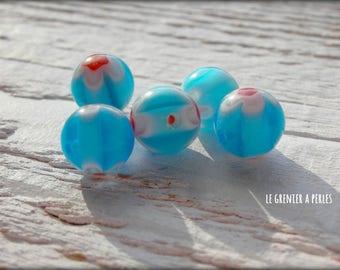 MILLEFIORI 10 mm x 5 blue beads
