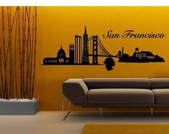 20% OFF Summer Sale San Francisco Skyline wall decal, sticker, mural, vinyl wall art