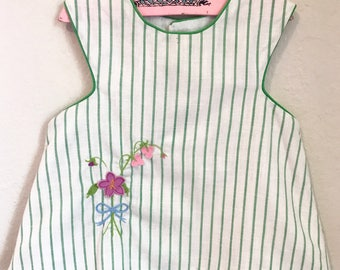 Vintage Cotton Pinafore Top and Bloomers. Vintage Green and White Striped Garden Blouse w/ Bloomers. Vintage Swing Tank and Bloomers.