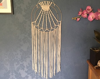 Copper hoop and macrame wall hanging