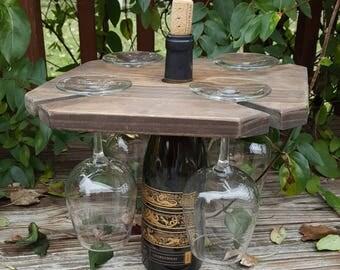 Reclaimed Wood Wine Caddy, Wine Glass Holder, Wine Butler, Wine Glass Holder, Wooden Wine & Glass Carrier, Rustic Wine Caddy, Hostess gift