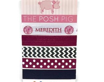 Meredith College Hair Ties/Elastic Hair Ties/Meredith Angels/Maroon and White/Meredith College Gifts/Stocking Stuffer