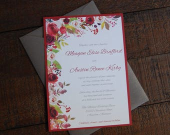 Cranberry and Gray Wedding Invitations