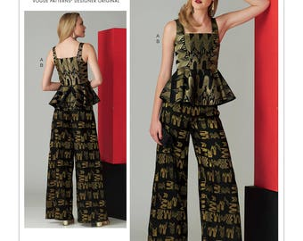 Vogue Pattern V1572 Misses' Sleeveless Peplum Top and Wide-Leg Pants