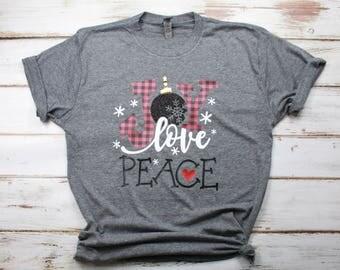 Joy love peace etsy for Custom t shirts buffalo ny