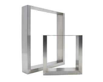 2 x Stainless Steel Table Legs - Modern Sleek Design