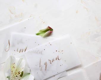 Vellum Calligraphy Place Card