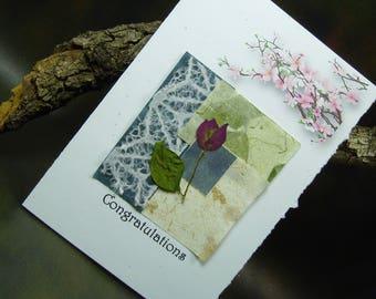 Congratulations Card/ Hand Made Greeting Card/ Cherry Blossom/ Natural Flower/ Hand Made Paper/ Art Card