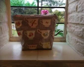 Tea cups bag. Knitting projectbag