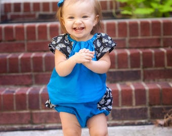 Coming Home Outfit, First Birthday Outfit, Black and Blue, Baby Girl Outfit, Ruffle Bloomers, Baby Shower Gift, Baby Girl Clothes
