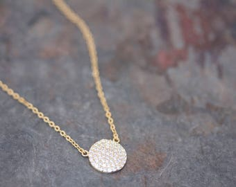 Pave Round Necklace