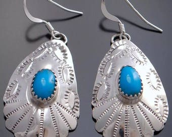 Navajo turquoise hand stamped earrings sterling silver