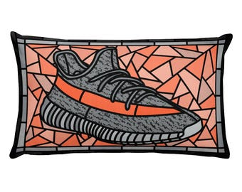 Yeezy Boost 350, Sneakerhead Pillow, Yeezy, Stained Glass Sneaker Art, Sneaker Collector Edition, Yeezy Boost 350 V2 Beluga