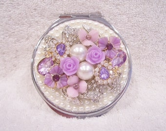 Pearl/Rhinestone Compact Mirror. Birthday, Wedding Shower, Bridesmaid, Valentine, Mother's Day Gift!