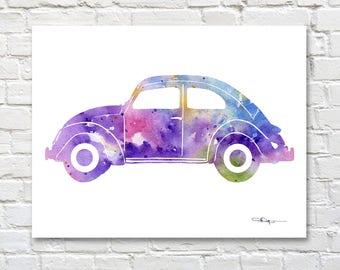 Volkswagon Art Print - Abstract VW Bug Watercolor Painting - Wall Decor