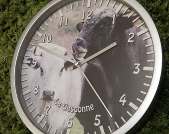 wall clock Gascon cow pattern