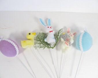 Vintage Set of 5 Flocked Easter Flower Picks -  Decorative Flocked Easter Picks