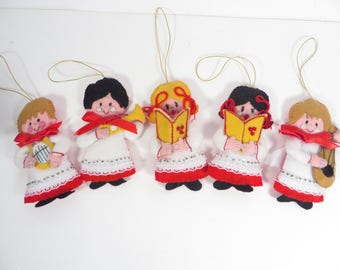 Set of 5 Vintage Handmade Felt Christmas Ornaments - 5 Felt Sequined Christmas Choir Ornaments