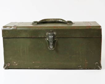 Antique Vintage Metal Army Green Tool Box Chest Primitive