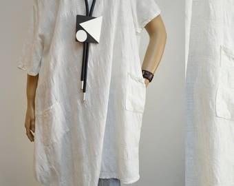 42 44 46 48 / 14 16 18 20 Italian Cotton Lagenlook Tunic Dress 2 Pockets Casual Summer