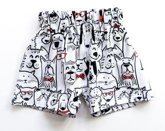Baby shower boy gift, 0-3 m baby shower girl gift, dog print harem shorts, baby shorties, beach shorts, baby gift, diaper cover puppy print