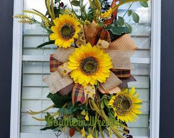 Sunflower Door Hanger, Fall Sunflower Door Wreath, Fall Sunflower Swag, Floral Fall Door Hanger, Rustic Fall Yellow Sunflower Door Wreath