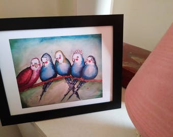 Storybook Style Budgie Watercolor Painting Print | Illustrative Art | Watercolor and Mixed Media Painting | Bird Art | Group of Birds