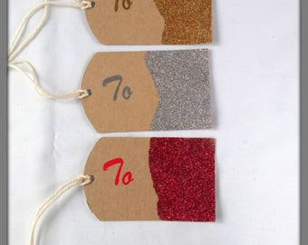 Rustic gift tags, Christmas tags, Set of 5 tags, Red tags, Gold tags, Bronze tags, Purple tags, Silver tags