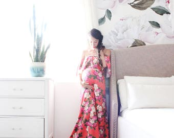 Maternity dress long fitted maternity gown babyshower dress bohemian floral print - The Floral Love Flounce-kauai