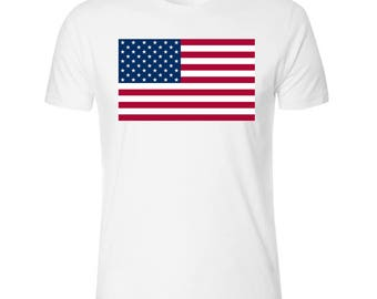 Flag of the United States of America Men's White T shirt