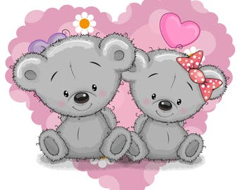 Gray Teddy Bear Couple    3.5 Inches White Vinyl  Sticker Decal Laptop Car Bumper Sticker