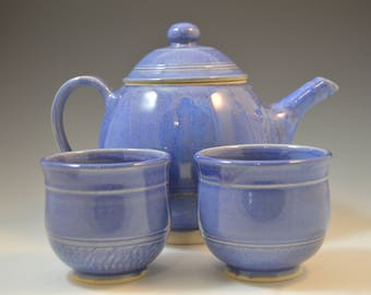 Teapot set, Handmade teapot set, Tea pot set, blue teapot set, tea pot and two tea cups