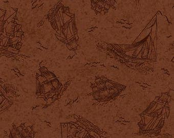 Sea Treasures, Brown Ships Cotton Woven Fabric by Quilting Treasures