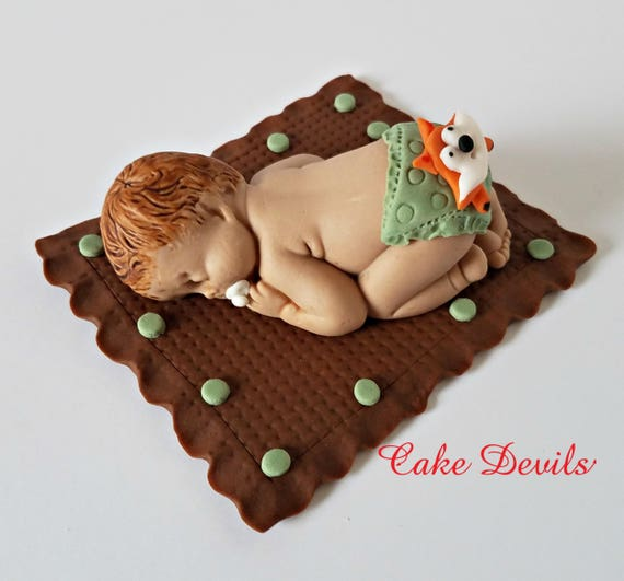 Fondant Fox Sleeping Baby Shower Cake Topper Woodland Baby Shower