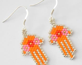 Hand of Fatima, orange and silver Earrings