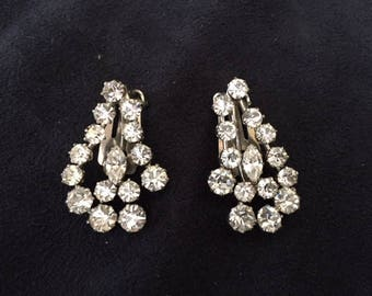 Karu Arke Rhinestone Clip Earrings