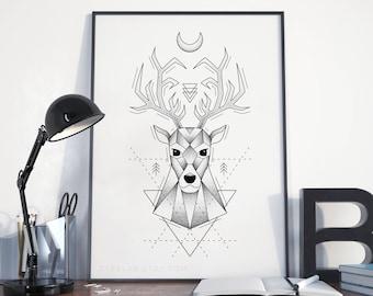 Deer Printable Art, Deer Illustration Digital Print, Dotwork Printable, Black & White Dotwork Stag Wall Art, Deer Poster Instant Download